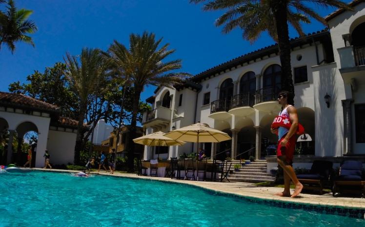 Aquassurance lifeguard, Gabriel, watching over a Golden Beach pool party.