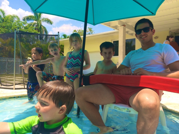 Aquassurance lifeguard, Josh, keeping guests safe at a South Miami Pool Party.