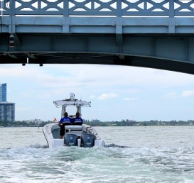 Miami-Dade Police patrolling the water.